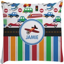 Transportation & Stripes Decorative Pillow Case (Personalized)