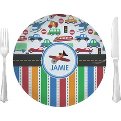 """Transportation & Stripes 10"""" Glass Lunch / Dinner Plates - Single or Set (Personalized)"""