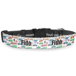 Transportation & Stripes Deluxe Dog Collar (Personalized)