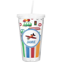 Transportation & Stripes Double Wall Tumbler with Straw (Personalized)