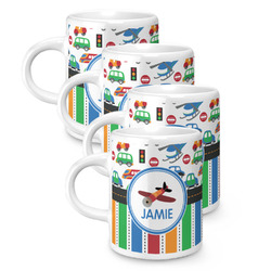 Transportation & Stripes Espresso Mugs - Set of 4 (Personalized)