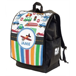 Transportation & Stripes Backpack w/ Front Flap  (Personalized)