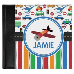 Transportation & Stripes Genuine Leather Baby Memory Book (Personalized)