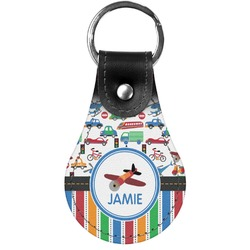 Transportation & Stripes Genuine Leather  Keychain (Personalized)