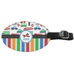 Transportation & Stripes Genuine Leather Luggage Tag (Personalized)