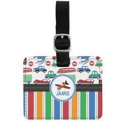Transportation & Stripes Genuine Leather Rectangular  Luggage Tag (Personalized)