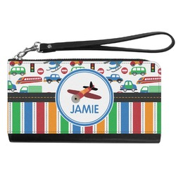 Transportation & Stripes Genuine Leather Smartphone Wrist Wallet (Personalized)