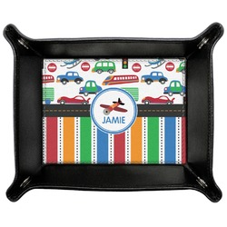 Transportation & Stripes Genuine Leather Valet Tray (Personalized)