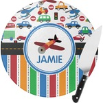 Transportation & Stripes Round Glass Cutting Board (Personalized)