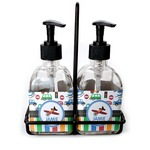 Transportation & Stripes Soap & Lotion Dispenser Set (Glass) (Personalized)