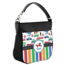 Transportation & Stripes Hobo Purse w/ Genuine Leather Trim (Personalized)
