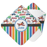 Transportation & Stripes Hooded Baby Towel (Personalized)