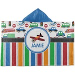 Transportation & Stripes Kids Hooded Towel (Personalized)