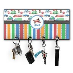 Transportation & Stripes Key Hanger w/ 4 Hooks w/ Graphics and Text
