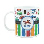 Transportation & Stripes Plastic Kids Mug (Personalized)