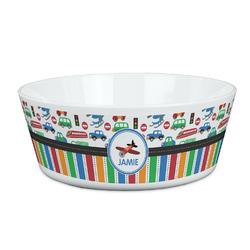 Transportation & Stripes Kid's Bowl (Personalized)