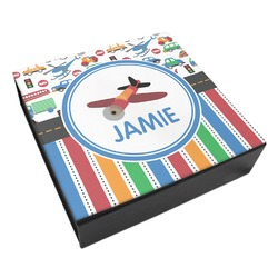 Transportation & Stripes Leatherette Keepsake Box - 3 Sizes (Personalized)