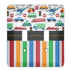 Transportation & Stripes Light Switch Cover (2 Toggle Plate) (Personalized)