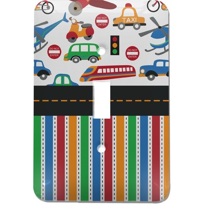 Transportation & Stripes Light Switch Cover (Single Toggle) (Personalized)