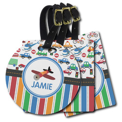 Transportation & Stripes Plastic Luggage Tags (Personalized)