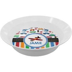 Transportation & Stripes Melamine Bowl (Personalized)