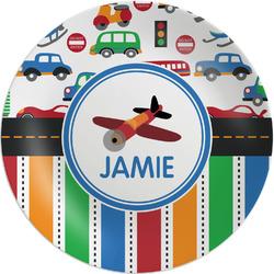 "Transportation & Stripes Melamine Plate - 8"" (Personalized)"