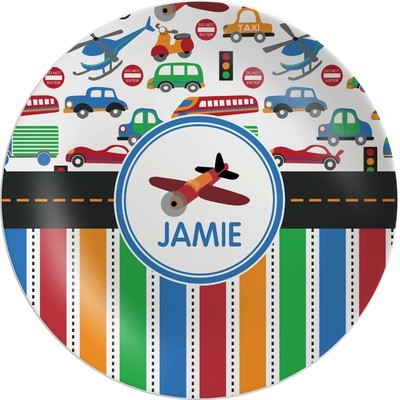 Transportation & Stripes Melamine Plate (Personalized)