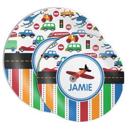 Transportation & Stripes Melamine Plate (Personalized)