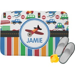 Transportation & Stripes Memory Foam Bath Mat (Personalized)
