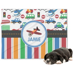 Transportation & Stripes Dog Blanket (Personalized)