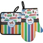 Transportation & Stripes Oven Mitt & Pot Holder (Personalized)