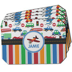 Transportation & Stripes Dining Table Mat - Octagon w/ Name or Text
