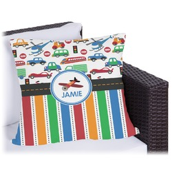 """Transportation & Stripes Outdoor Pillow - 16"""" (Personalized)"""