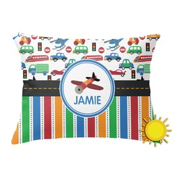 Transportation & Stripes Outdoor Throw Pillow (Rectangular) (Personalized)
