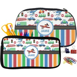 Transportation & Stripes Pencil / School Supplies Bag (Personalized)