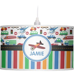 Transportation & Stripes Drum Pendant Lamp Linen (Personalized)
