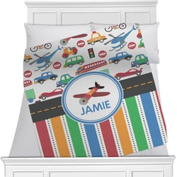 "Transportation & Stripes Fleece Blanket - Twin / Full - 80""x60"" - Double Sided (Personalized)"