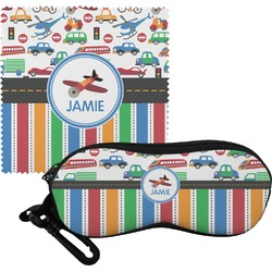 Transportation & Stripes Eyeglass Case & Cloth (Personalized)