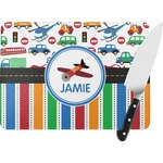 Transportation & Stripes Rectangular Glass Cutting Board (Personalized)
