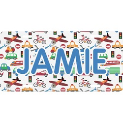 Transportation & Stripes Front License Plate (Personalized)