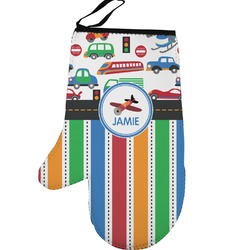 Transportation & Stripes Left Oven Mitt (Personalized)