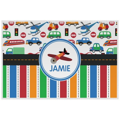 Transportation & Stripes Laminated Placemat w/ Name or Text