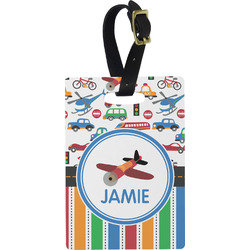 Transportation & Stripes Plastic Luggage Tag - Rectangular w/ Name or Text