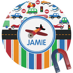 Transportation & Stripes Round Magnet (Personalized)