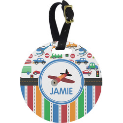 Transportation & Stripes Round Luggage Tag (Personalized)