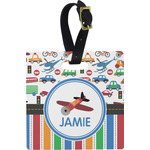 Transportation & Stripes Square Luggage Tag (Personalized)