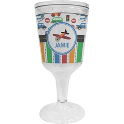 Transportation & Stripes Wine Tumbler - 11 oz Plastic (Personalized)
