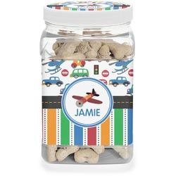 Transportation & Stripes Dog Treat Jar (Personalized)