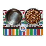 Transportation & Stripes Dog Food Mat (Personalized)