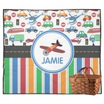 Transportation & Stripes Outdoor Picnic Blanket (Personalized)